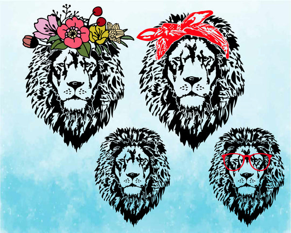 Lion Head whit Flower Bandana Glasses SVG Cutting Files Clip Art cricut cuttable cut layer wild animal african king zoo cat cats