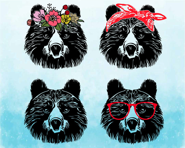 Bear Whit Bandana Flower Glasses SVG Cutting Files Clip Art cricut cuttable cut layer Head face Pet Momma mom mama bear dad daddy papa