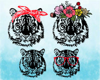 Wild Tiger Head Flower bandana glasses SVG Cutting Files Clip Art cricut cut layer wild animal african king zoo football