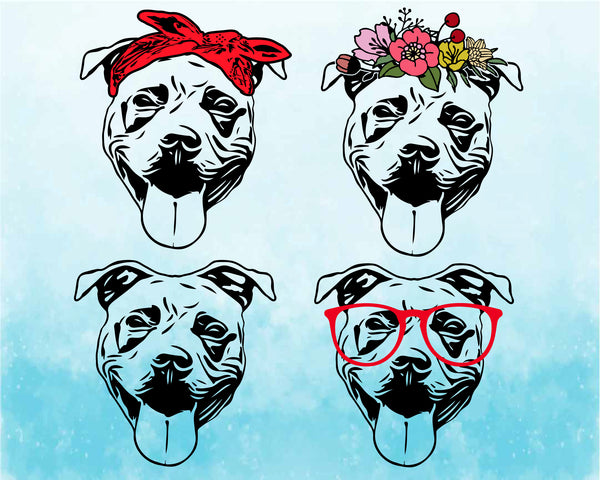 Pit bull Whit dog Glasses flower floral bandana SVG American ClipArt cricut, portrait Dog 4th July Bulldogs patriotic puppy Pitbull