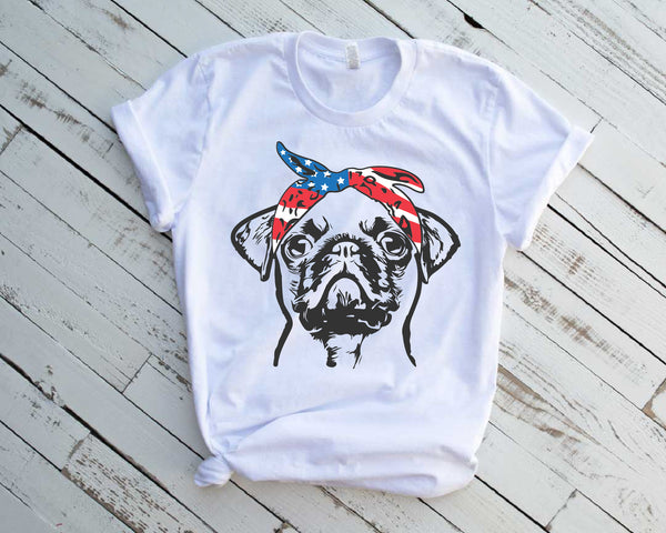PUG whit USA Bandana SVG mops sublimation merica patriotic Usa Flag American 4th of July pugs pug cut file dog face pug svg file puppy 1772s
