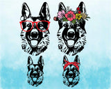 German shepherd dog Glasses flower floral bandana SVG Cutting Files ClipArt cricut cuttable cut layer Head Dog 4th July Breed K-9