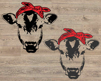 Cow Head whit Bandana Silhouette SVG Cutting Files Clip Art cricut cuttable Die Cut Machines cut layer cowboy western Farm Milk 1714S