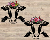 Peek-A-Boo Cow svg, Cow Face Flower Roses floral Peeking Heifer Farm Animal svg, Animal svg, Farmhouse svg files for Cricut peekaboo