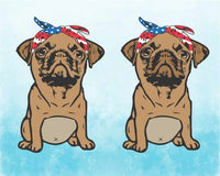 PUG whit USA Bandana SVG mops sublimation merica patriotic Usa Flag American 4th of July pugs pug cut file dog face pug svg file puppy 1770s