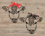 Cow whit bandana mandala svg / zentangle cow svg / intricate svg file / cricut design svg / zentangle for cricut / animal Heifer 1719s