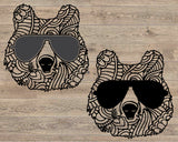 Mandala Bear Whit Glasses zentangle SVG Cutting Files ClipArt cricut cut layer Head face Pet Momma mom mama bear dad daddy papa
