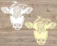 Cow whit bandana mandala svg / zentangle cow svg / intricate svg file / cricut design svg / zentangle for cricut / animal Heifer 1718s
