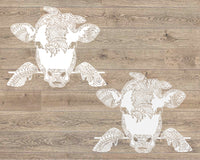 Peek-A-Boo Cow Bandana mandala svg Cow zentangle Peeking Heifer Farm Animal svg Animal svg Farmhouse svg files for Cricut peekaboo