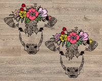 Cow flower bandana mandala svg / zentangle cow svg / intricate svg file / cricut design svg / zentangle for cricut / animal Heifer 1720s
