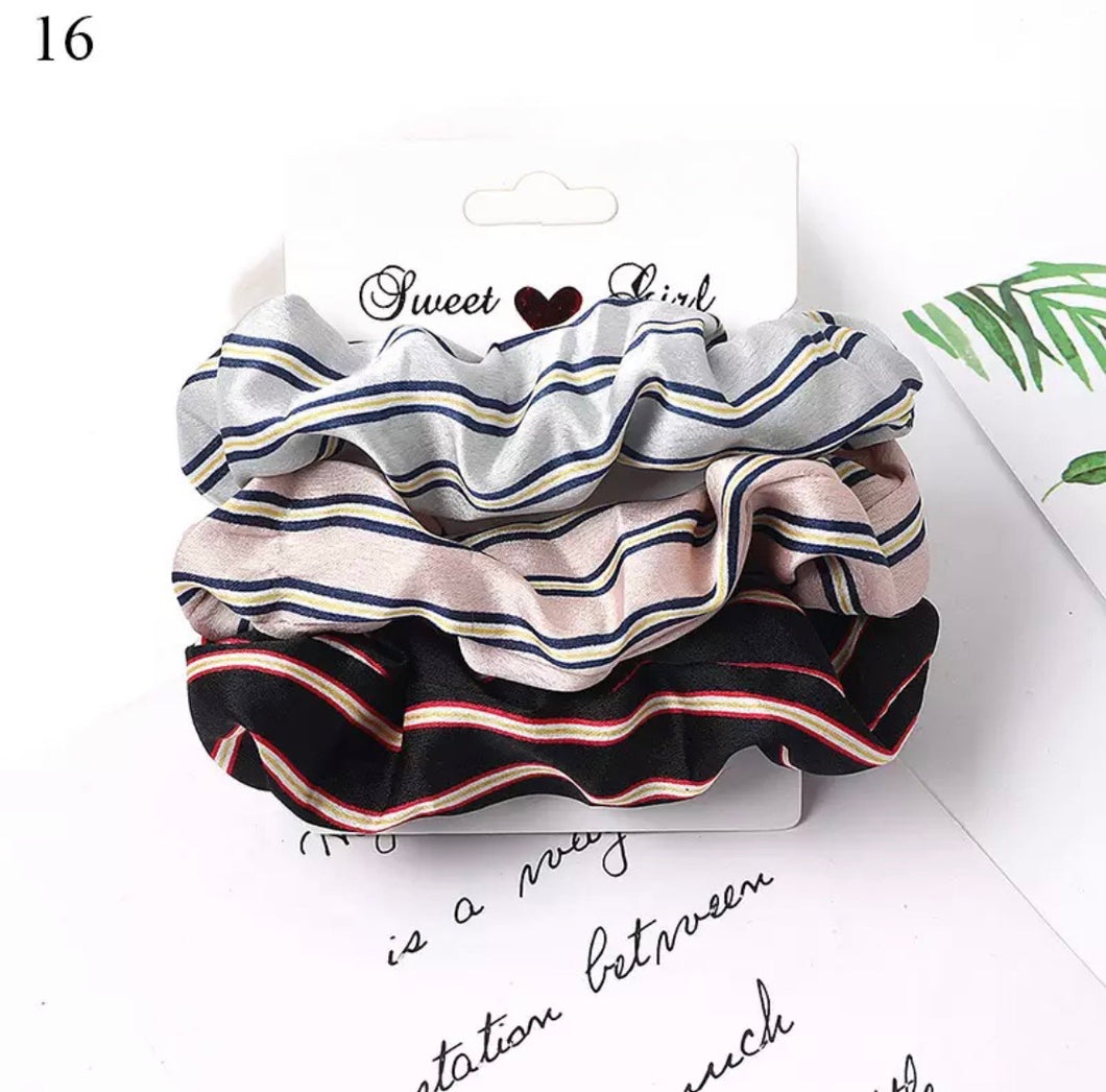Silky Stripes Scrunchies
