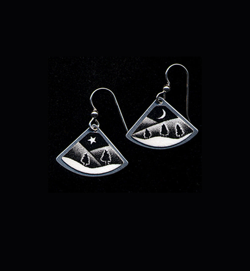 Starlight, black and white landscape earrings by Daryl Storrs