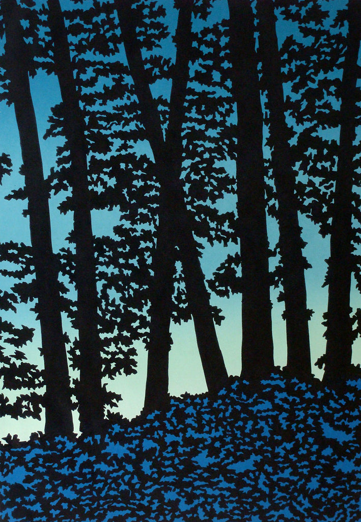 Blue Forest, Original Linocut Print by Vermont artist Daryl V. Storrs