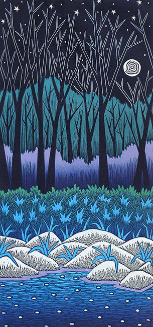 Blue Moon II, linocut print by Vermont artist, Daryl Storrs