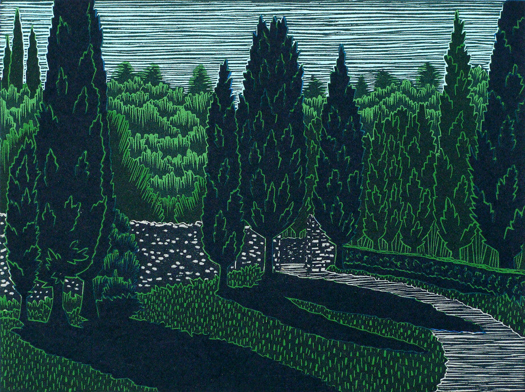 Dentro Spannocchia, woodcut print by Daryl Storrs