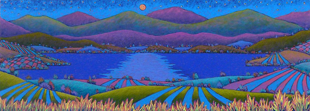 Dusty Moonlit Lake, pastel painting by Daryl Storrs, Vermont