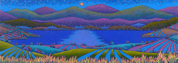 Dusty Moonlit Lake By Vermont Artist Daryl Storrs Daryl