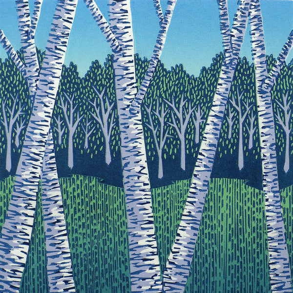 Field And Birches Woodcut Print By Vermont Artist