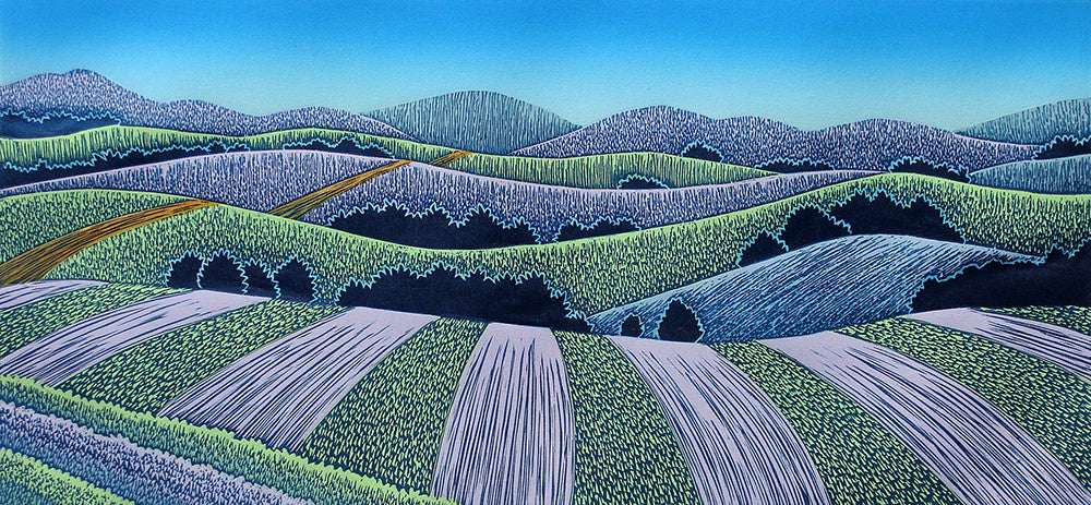 Blue Fields Afar, Color Linocut By Vermont Artist Daryl Storrs