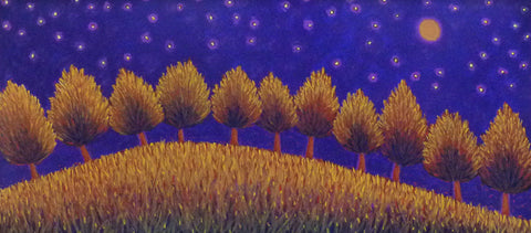 Hilltop Trees, Stars and Grasses