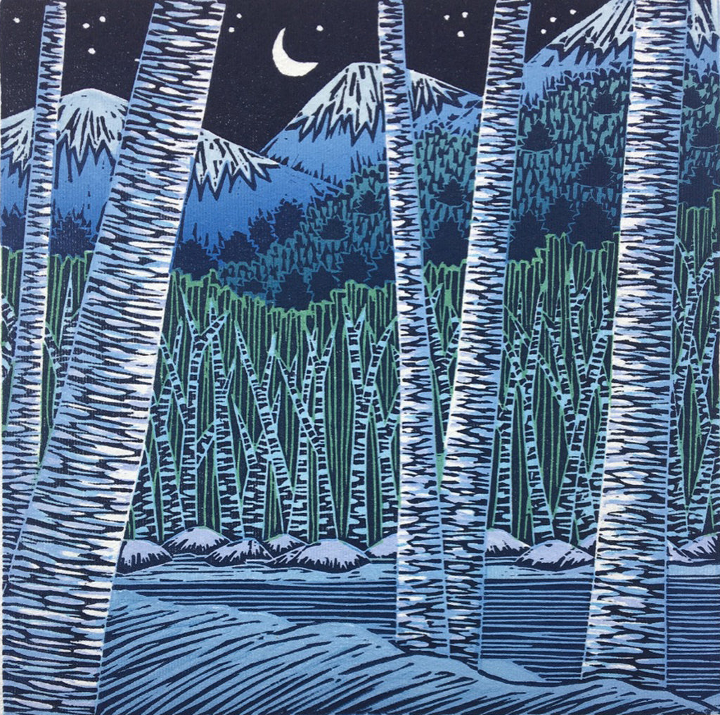 Snow Birches, original block print by VT artist Daryl Storrs