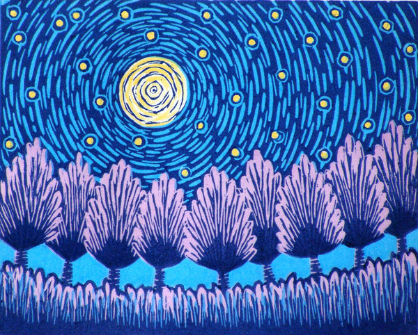 Solstice Original Linocut By Vt Artist And Printmaker