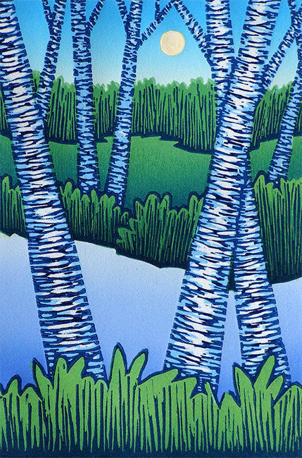 Waterside Birches Color Woodcut By Vermont Artist Daryl V