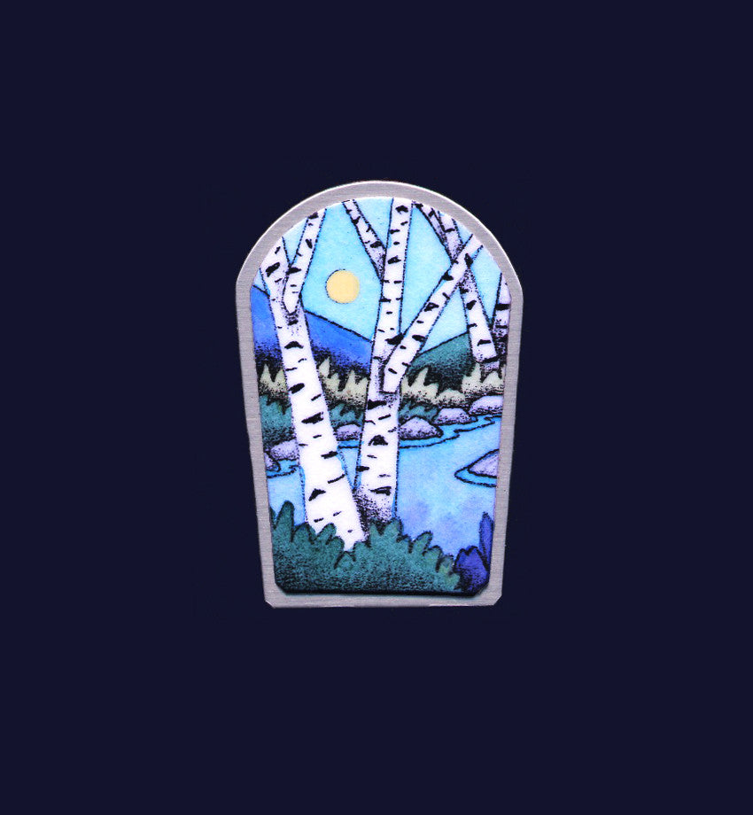 Riverside Birches original pin & pendant by Daryl Storrs