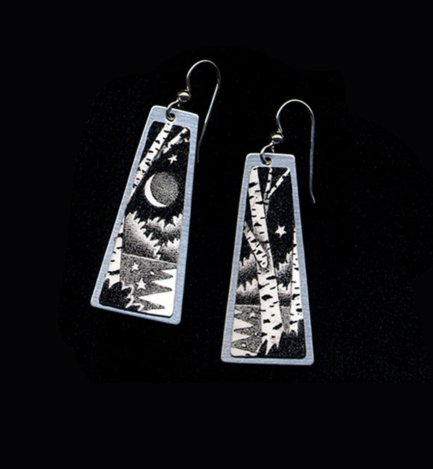 Reflective, original black and white earrings by Daryl Storrs
