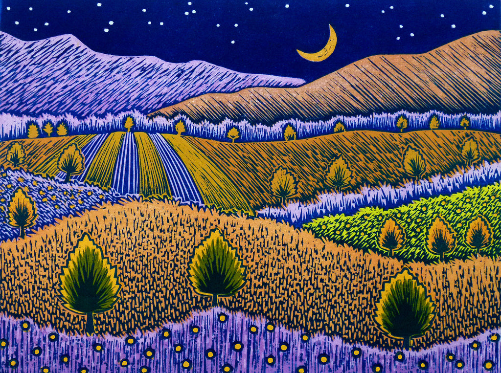 Dandelion Evening, Woodblock Print by Vermont artist, Daryl Storrs