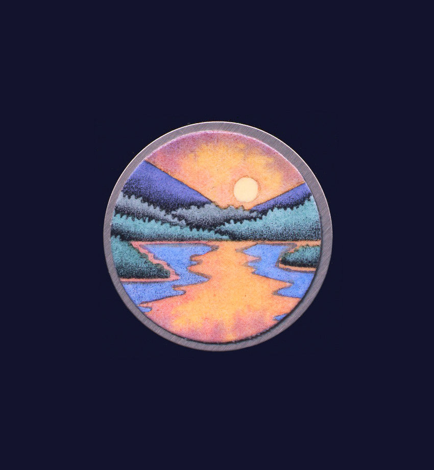 Sunset Lake, hand painted pin/pendant by Daryl V. Storrs