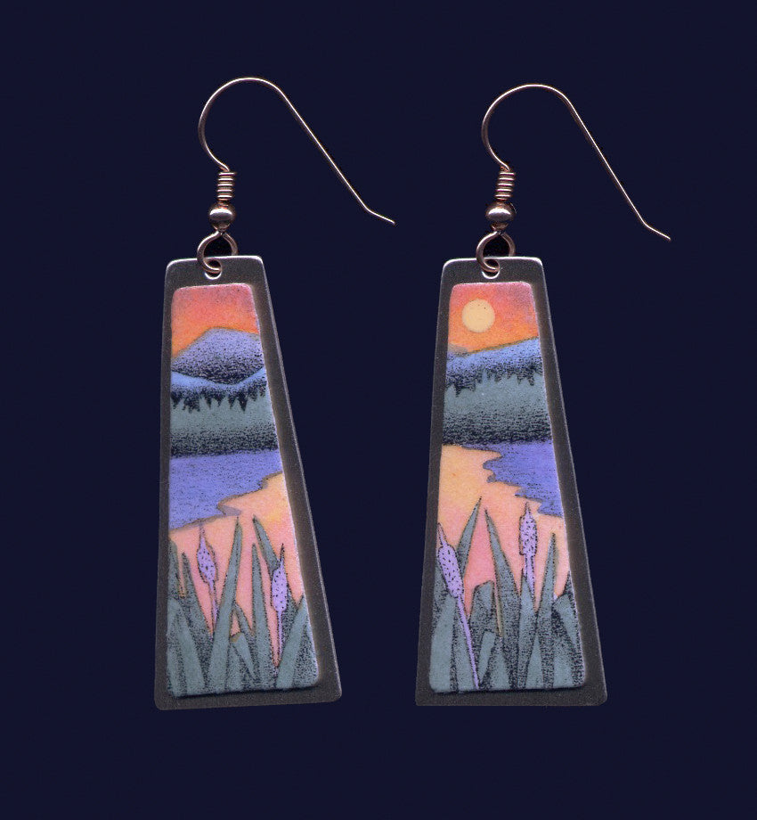 Sunset Cattails, original lithographic earrings by Daryl Storrs