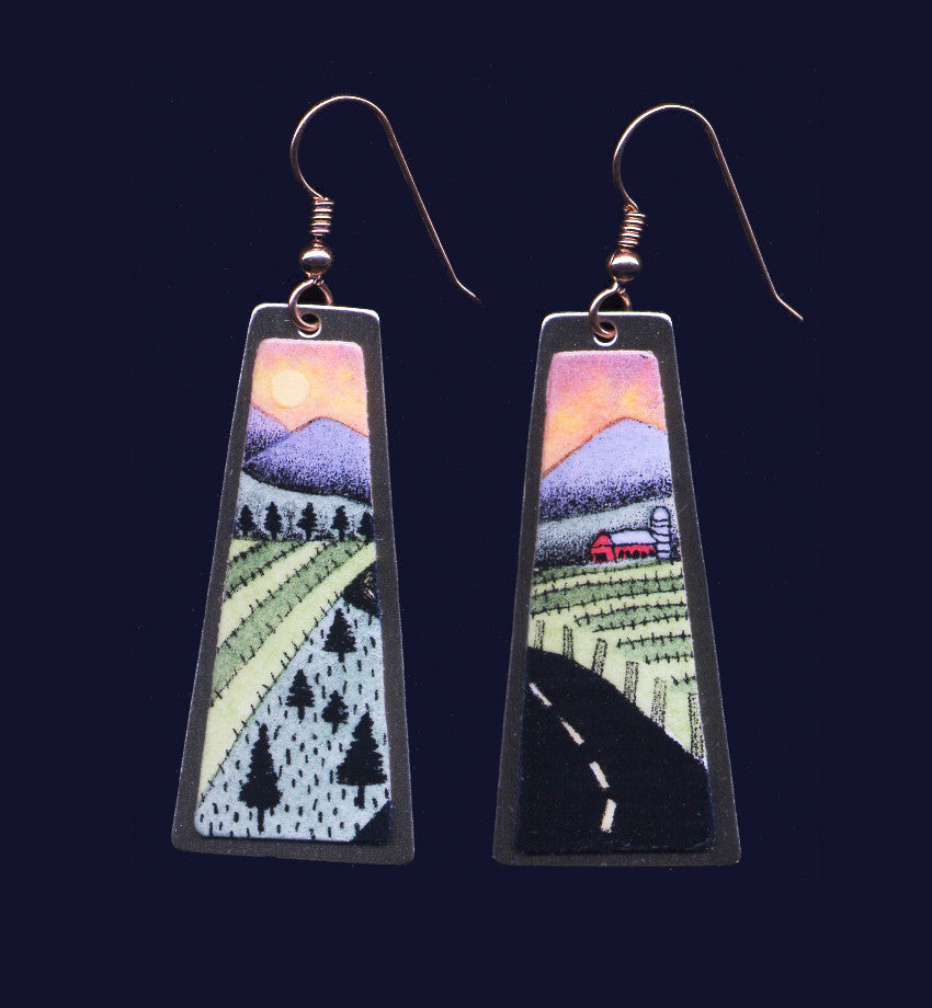 Road, original landscape dangle earrings by Daryl Storrs