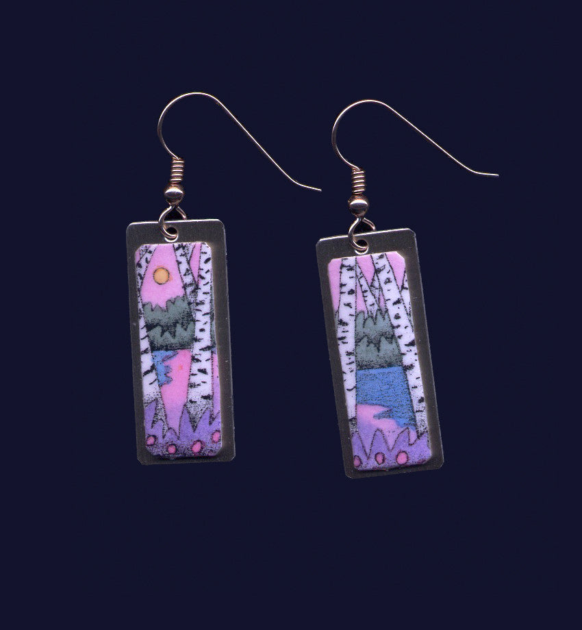 Pink Birches & Water, earrings by Vt jewelry artist D. Storrs