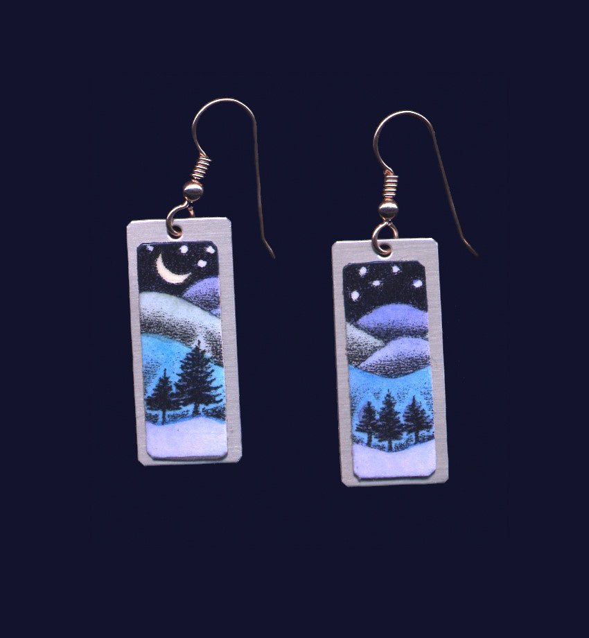 Wavy Pines, original lithographic earrings by Daryl Storrs