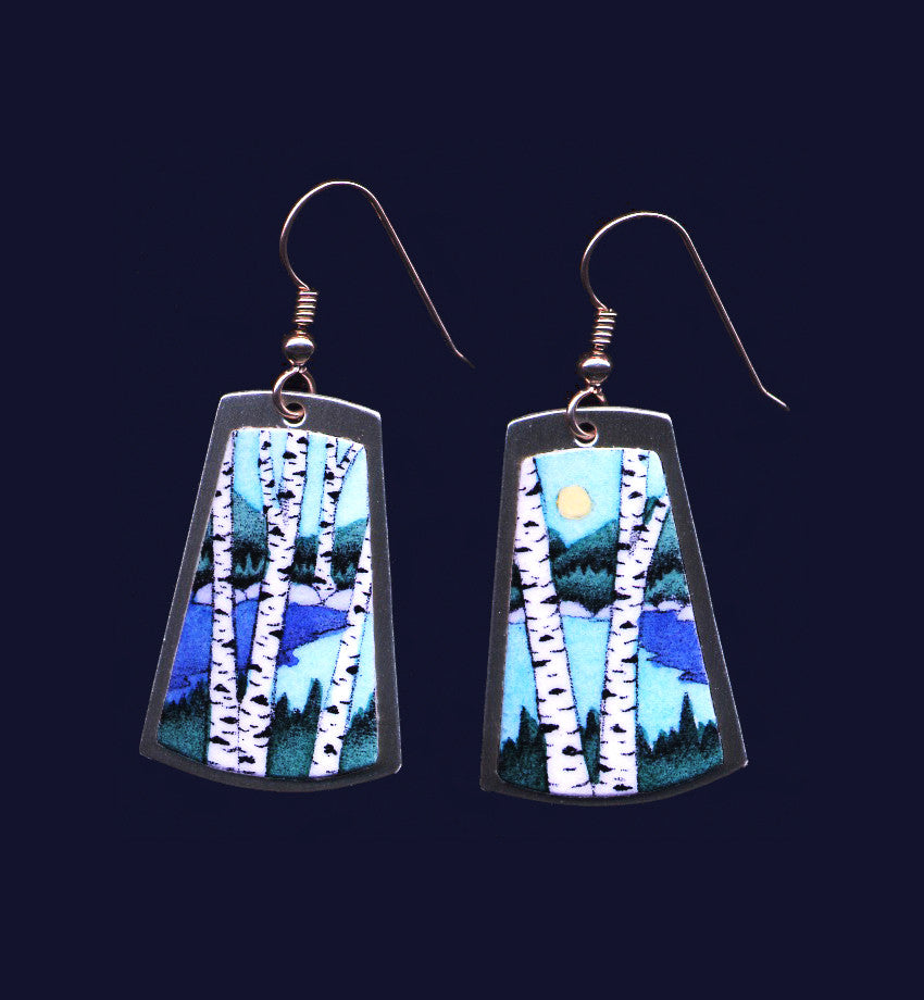 Lake Birches handprinted earrings by Daryl Storrs
