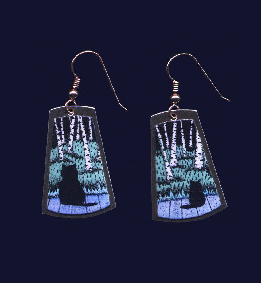 Birch Kitties, Short Dangle Earrings By Artist Daryl V. Storrs