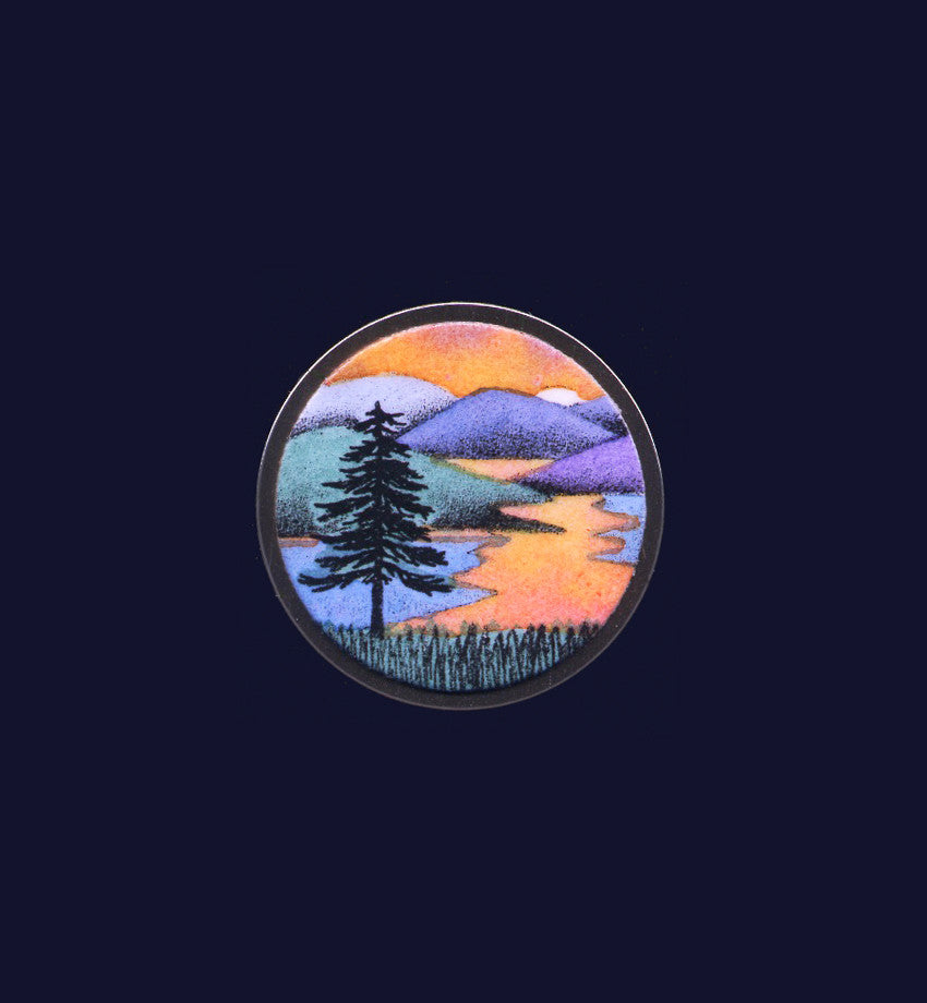 Sunset Solitude, pin/pendant by VT artist Daryl V. Storrs