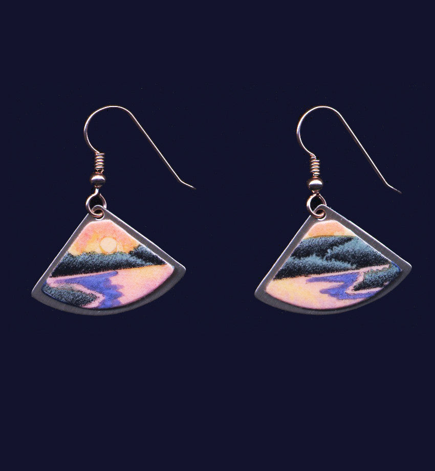Sunset Lake hand painted dangle earrings by Daryl V. Storrs