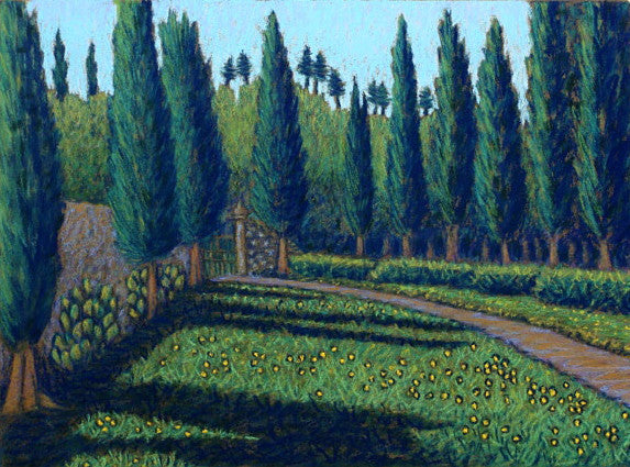 Entrance to Spannocchia, original pastel painting, D. Storrs