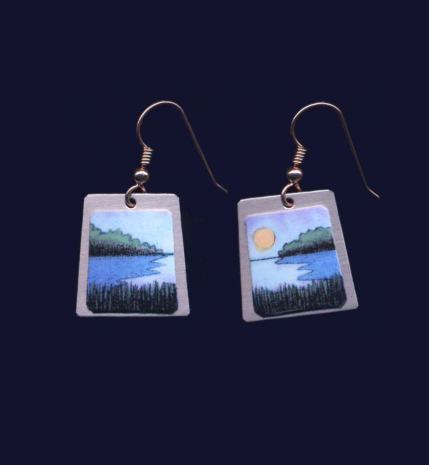 Blue Grasses and Water, earrings by Vermont artist, Daryl Storrs