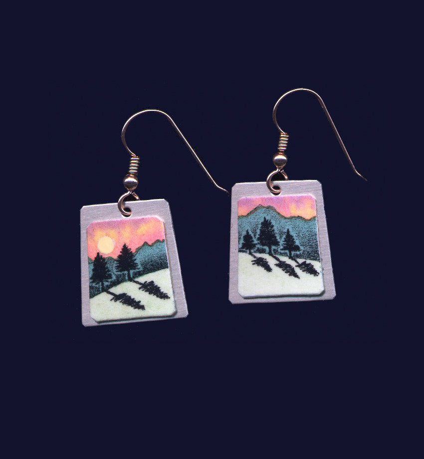 Pines & Shadows, landscape earrings by Daryl V. Storrs.