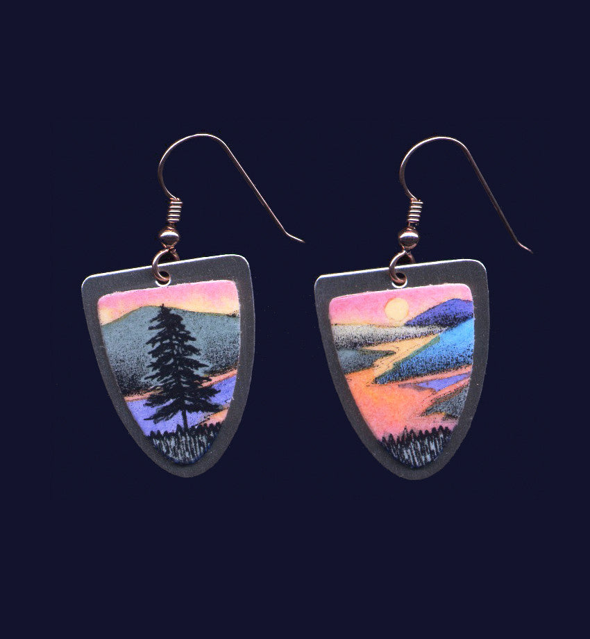 Sunset Solitude earrings by Vermont artist Daryl V. Storrs
