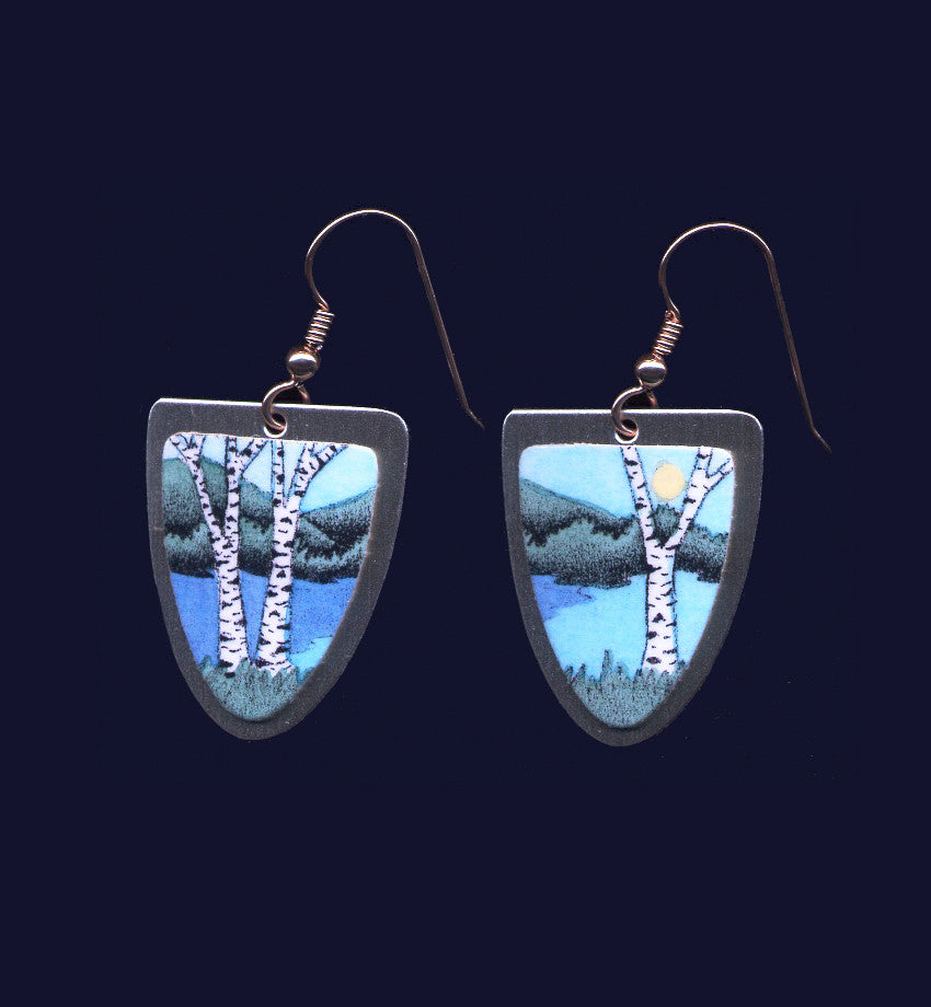 Day Birches and Water, earrings by Daryl Storrs, Vermont artist