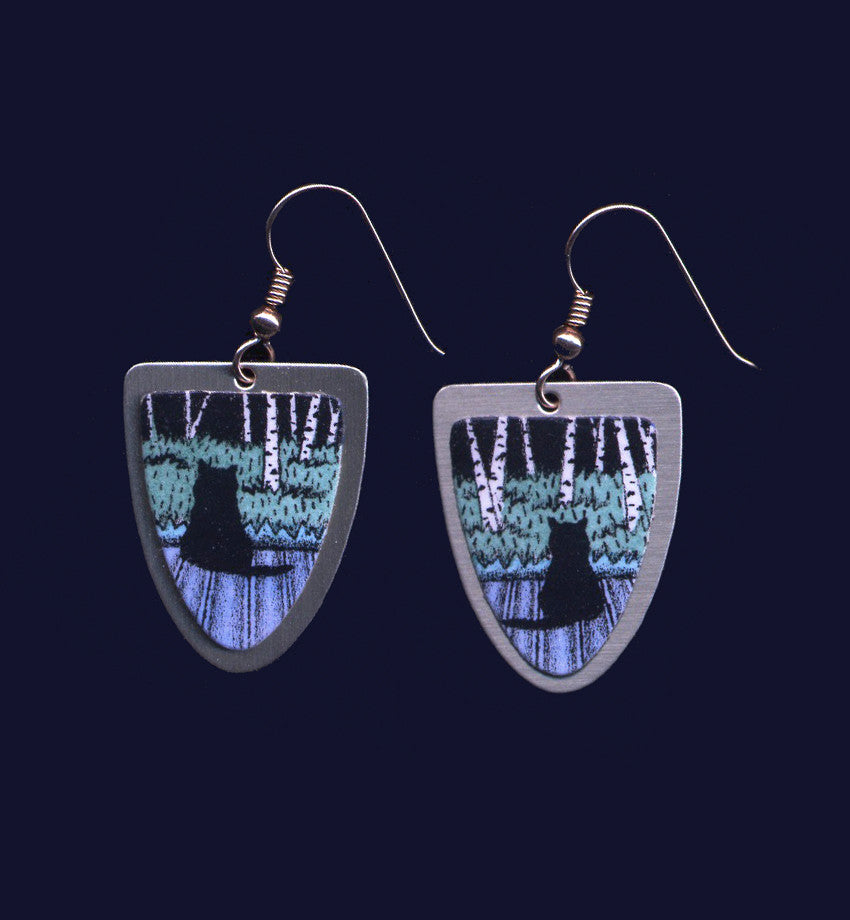 Birch Kitties, Original Earrings By Vermont Artist Daryl Storrs