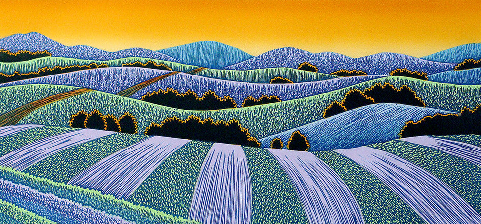 Woodcut Print by Vermont Artist, Daryl Storrs - Fields Afar