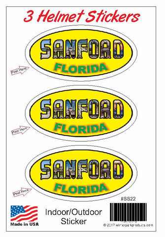3 Pack Sanford Florida Helmet Sticker SS22 Wholesale
