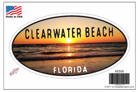 Clearwater Beach Florida Oval Bumper Sticker SS06 Wholesale