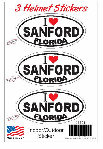 3 Pack Sanford Florida Helmet Sticker SS25 Wholesale