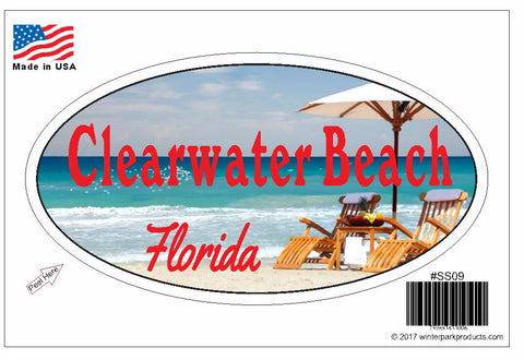 Clearwater Beach Florida Oval Bumper Sticker SS09 Wholesale